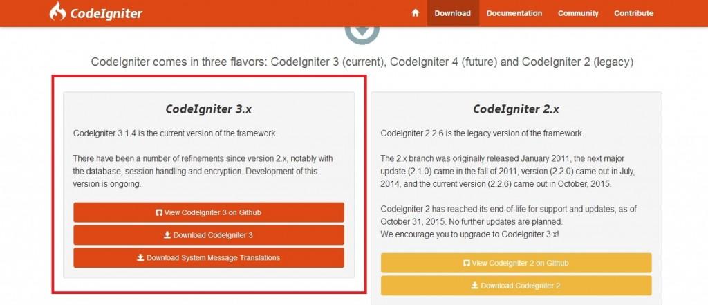 codeigniter versions