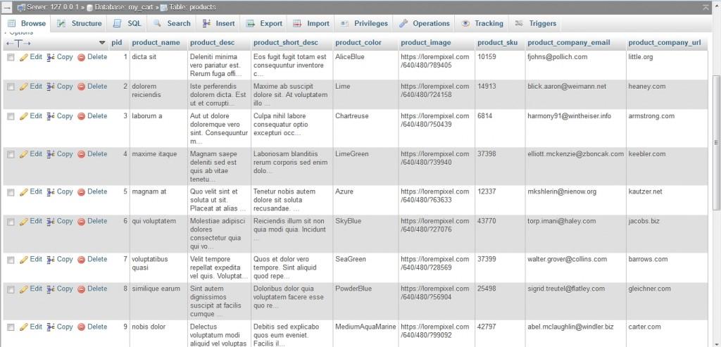 insert dummy data into mysql using php products