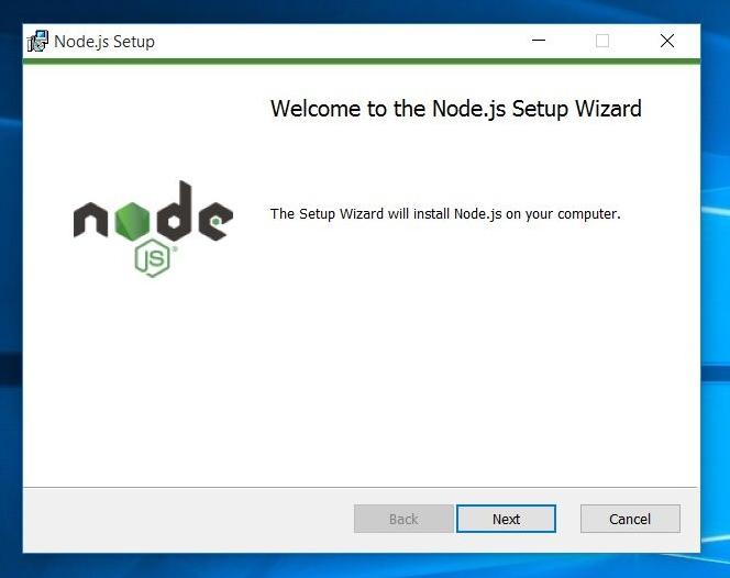node.js windows setup