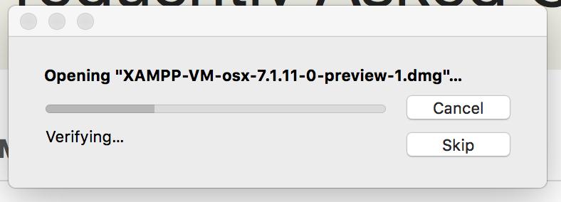 opening xampp vm dmg file