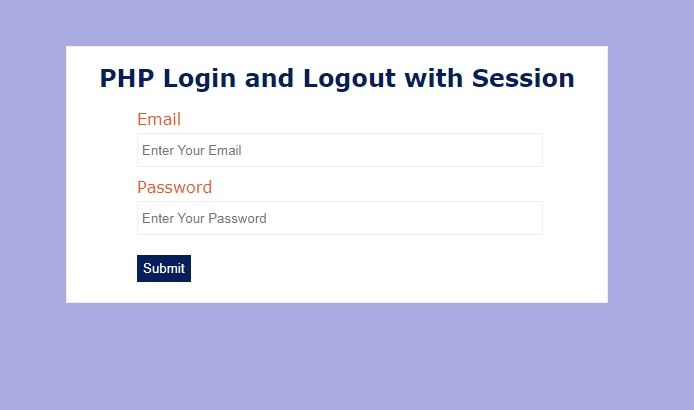 php session login logout example