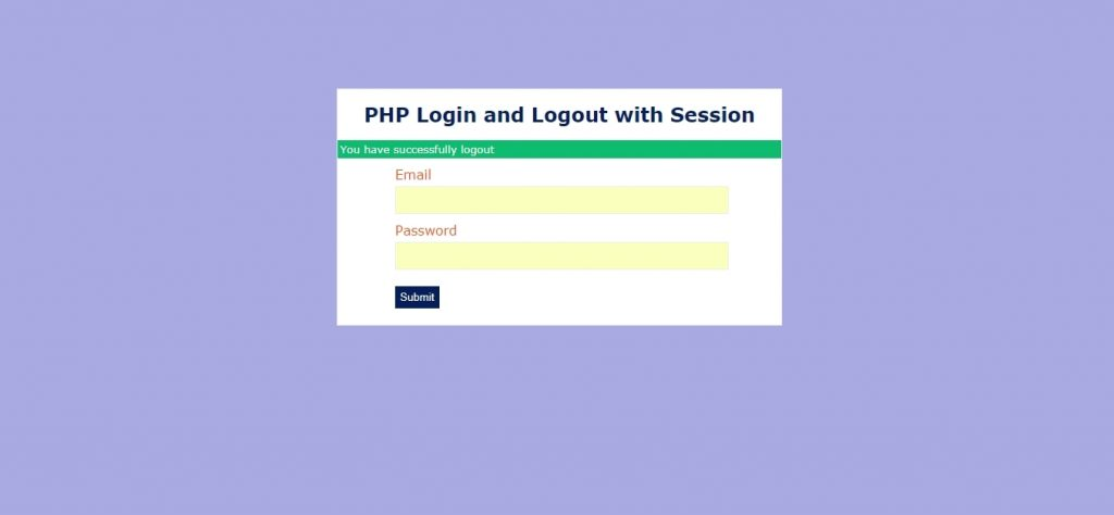 php session successfully logout