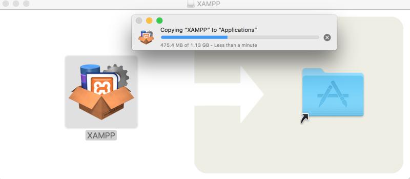 xampp-vm drag and drop in progress