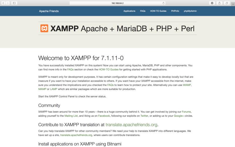 xampp vm running browser