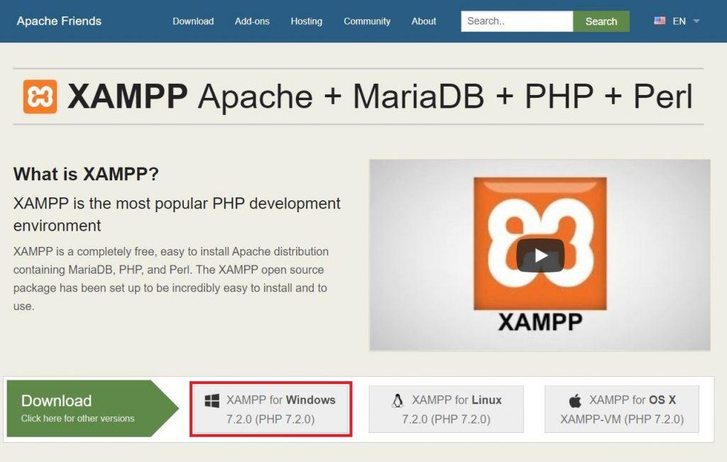 Download xampp from apache friends