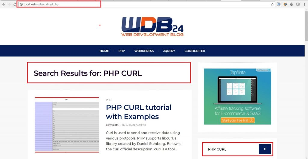 response php curl get