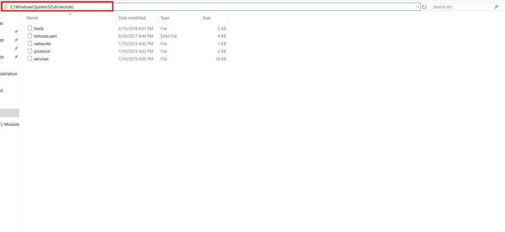 goto windows system 32 drivers etc hosts