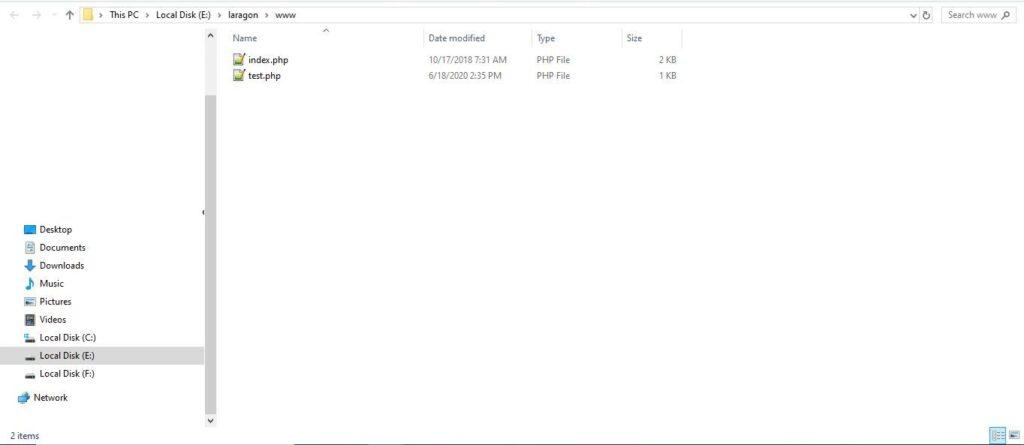 create test file in laragon www