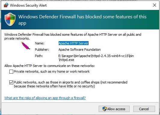 apache firewall defender for laragon