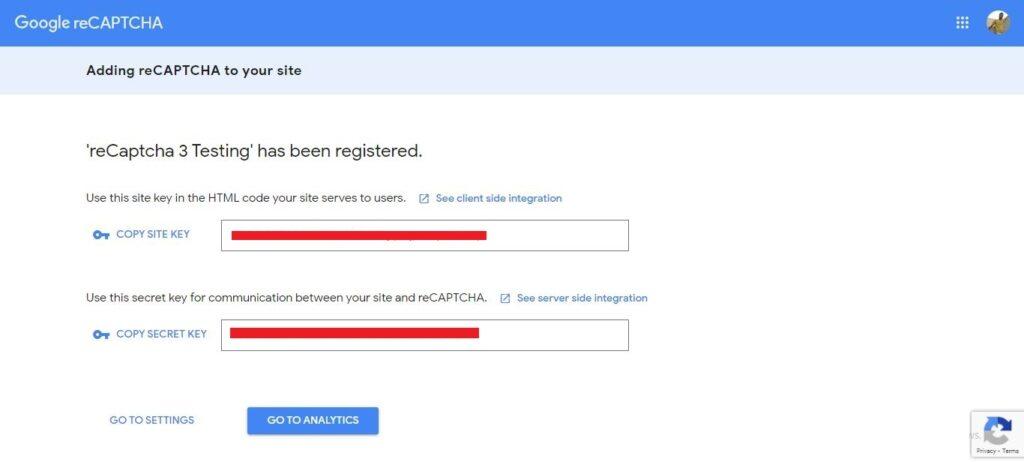 google recaptcha v3 site and secret key