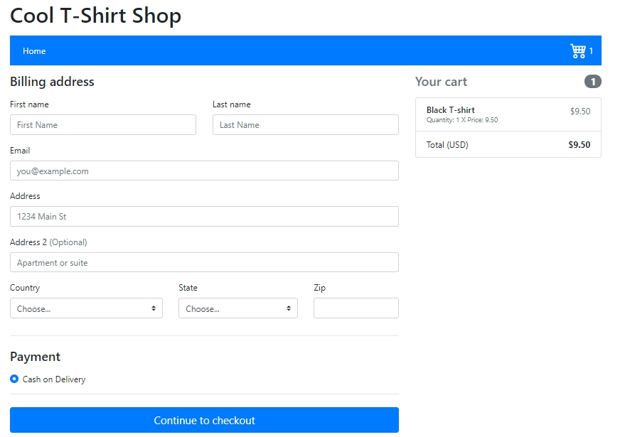 php shopping cart checkout page